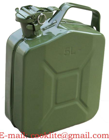 Military Style Steel Jerry Can / Metal Fuel Jerry Can 5 Litre