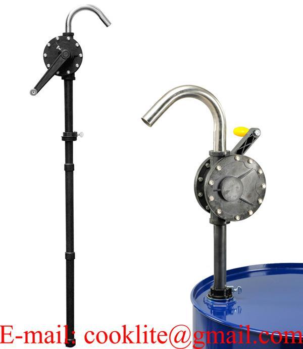 Pompe manuelle rotative en plastique pour huiles et substances corrosives et volatiles