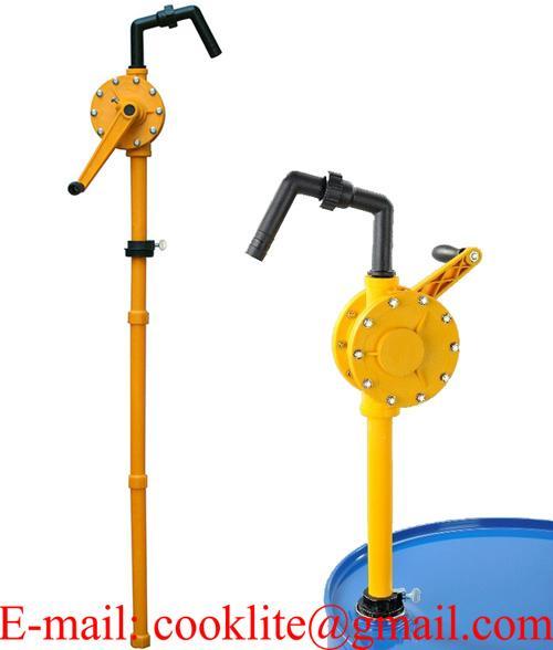 Pompa travaso liquidi per fusti barili a manovella