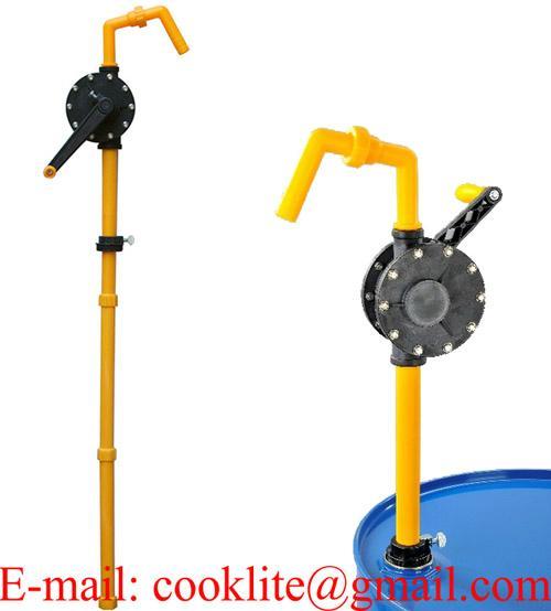 Manuell fatpumpe håndpumpe sveivepumpe i plast til kjemikalier og syrebaserte produkter