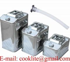 Roestvrij stalen (RVS) jerrycan/benzinekan voor opslag en vervoer van brandstof