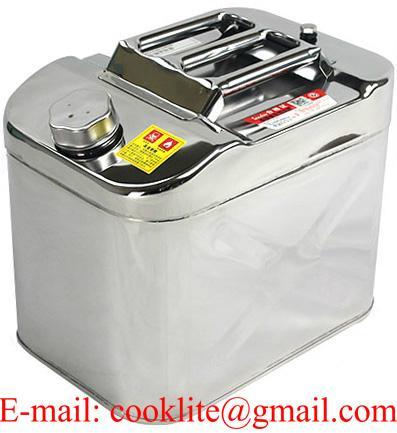 RVS staal jerrycan/benzinekan met schroefdop 20 liter