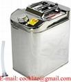 Jerrycan/brandstoftank van roestvast staal met schroefdop voor olie en brandstoffen 30l