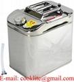 Roestvrijstalen (RVS) jerrycan/benzinecan met een inhoud van 25 liter