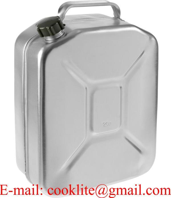 Aluminium jerrycan/brandstoftank met schroefdop voor olie en brandstoffen 20l