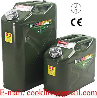 Jerrycan/benzinekan in staal met schroefdop voor olie en brandstoffen 10l/20l