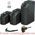 Stalen leger jerrycan/benzinecan met druksluiting voor opslag en vervoer van brandstofn
