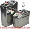 Benzinekan/jerrycan van roestvast staal 10/20 liter met schroefdop voor benzine en diesel
