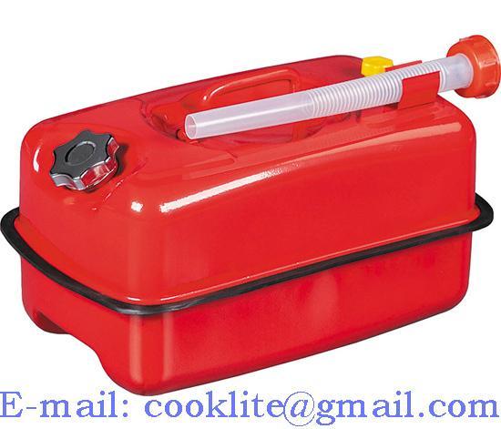 Metalen stalen brandstof jerrycan 10 liter rood met schroefdop & ontluchtingsventiel