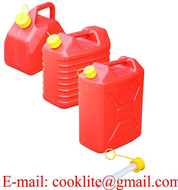 Kunststof jerrycan/benzinecan met schenktuit voor opslag en vervoer van brandstof