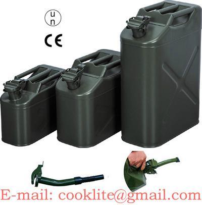 Leger jerrycan staal groen brandstoftank staalplaat met druksluiting voor brandstof