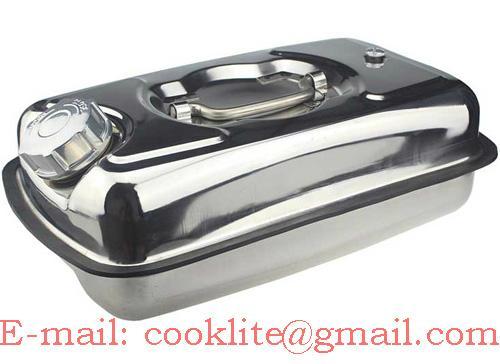 Tanica in acciaio inossidabile 5 litri orizzontale con coperchio a vite per acqua e liquidi infiammabili