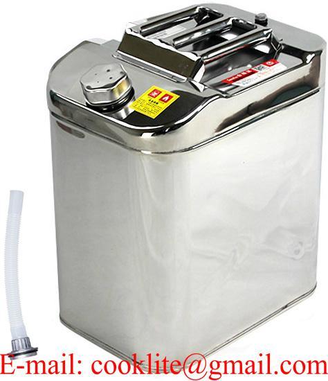 Tanica in acciaio inox 30 litri per benzina carburante con tubo flessibile