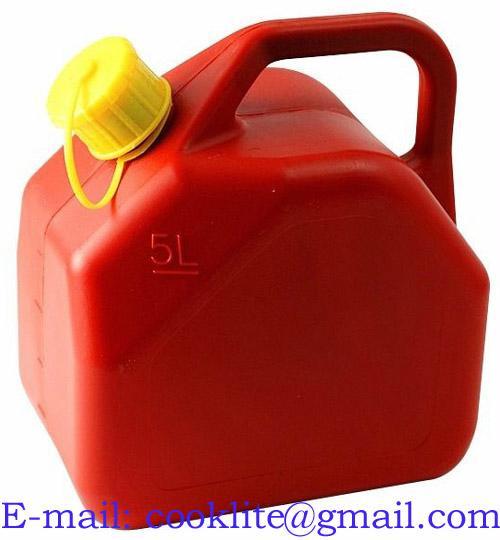 Bränsledunk i plast 5L reservdunk jeepdunk röd med skruvlock och pip