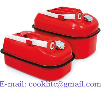 Bränsledunk flat reservdunk i röd lackerad stålplåt med skruvlock