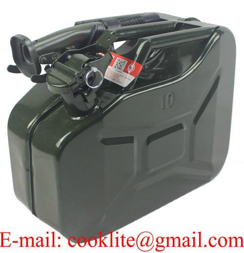 Μεταλλικό δοχείο καυσίμου Βενζίνης - Πετρελαιου 10 λίτρων με τάπα ασφαλείας