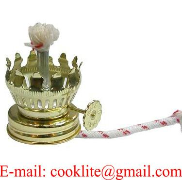 Brass plated kerosene oil lamp burner with round cotton wick and glue down collar