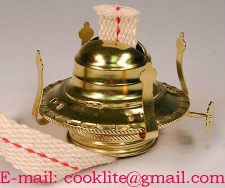 """#2 Brass Plated Oil Lamp Burner With Wick Fits 1-3/4"""" Threaded Collar"""