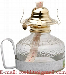 Hand Held Glass Kerosene Oil Lamp with Metal Handle
