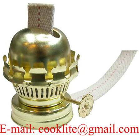 Brass plated kerosene oil lamp burner with flat cotton wick and glue down collar