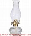 Clear Glass Kerosene Oil Lamp & Chimney With Eagle Burner & Wick