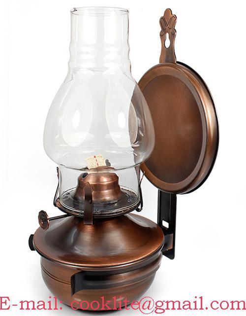 Bronze Plated Wall Sconce Kerosene Lamp Light Chimney Reflector Oil Hanging