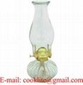 Vintage Clear Glass Hurricane Oil Lamp Kerosene Light