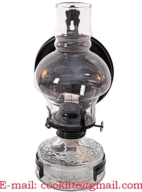 Vintage Clear Glass Wall Sconce Kerosene Oil Lamp