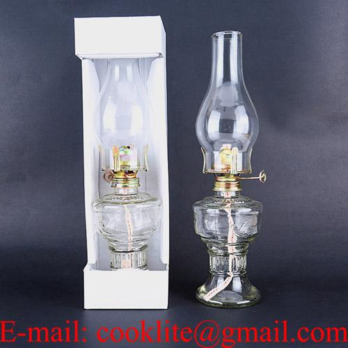 Antique Glass Oil Kerosene Lamp
