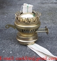 Antique Brass Plated Duplex Oil Lamp Burner with Flat Cotton Wicks