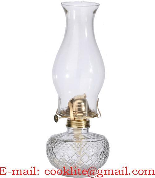 Vintage Clear Glass Kerosene Lamp Hurricane Oil Light