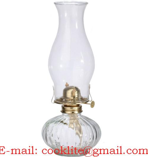 Vintage Clear Glass Kerosene Oil Lamp With Flare Top Chimney