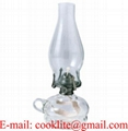 Vintage Clear Glass Hand Held Paraffin Oil Lamp