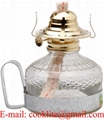 Vintage Clear Glass Kerosene Oil Lamp With Metal Handle