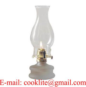 Vintage Clear Glass Paraffin Oil Lamp With Flare Top Chimney