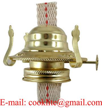 "No 2 Kerosene or Oil Lamp Burner Holds 3"" Chimney Complete with Flat Cotton Wick"