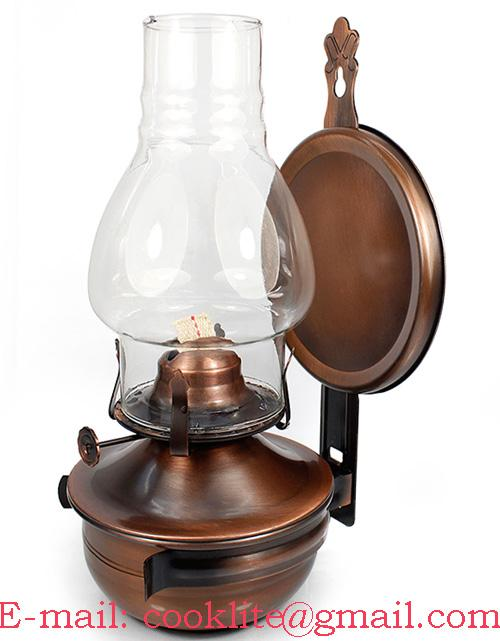 Wall Mounted Kerosene Oil Lamp With Reflector ... - Bronze Plated Wall Sconce Kerosene Oil Lamp With Reflector - L888