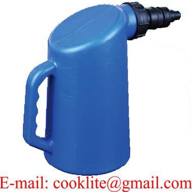 Plastic Oil Measuring Jug With Pouring Spout, Lid and Cap - 5L
