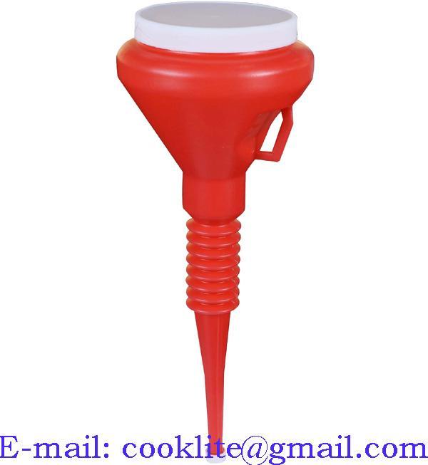 1 1/2 Quart Red Double Cap Plastic Transmission Funnel