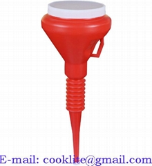 1 1/2 Quart Red Double Cap Plastic Transmission Funnel