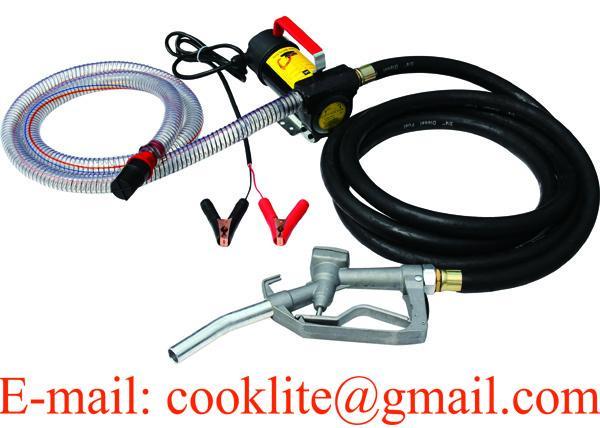 Εξάρτηση αντλιών μεταφοράς καυσίμων 12V με μάνικα και χειρωνακτικό ακροφύσιο