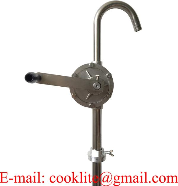 304 Stainless Steel Rotary Hand Drum Pump - PTFE ( Teflon ) Seals & Vanes