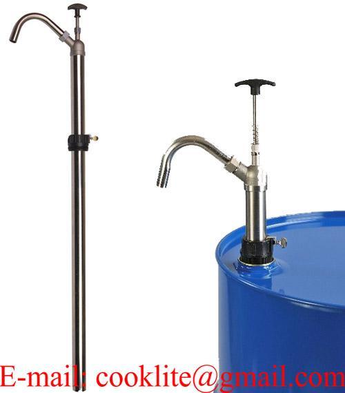 Bomba manual para solventes vertical en acero usada para trasegar fluidos viscosos a base de petróleo y solventes