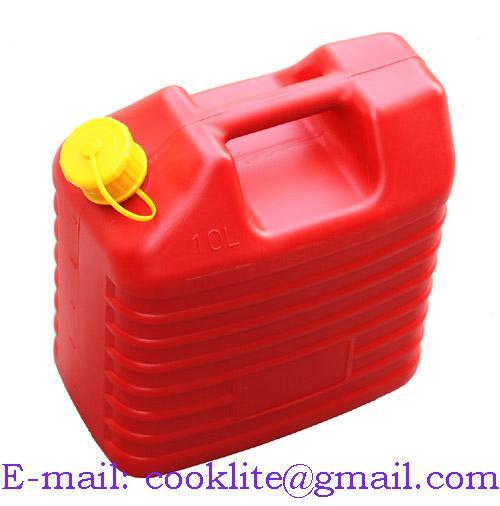 Bränsledunk Jeep 10L bensindunk röd plast med skruvlock och flexibel pip