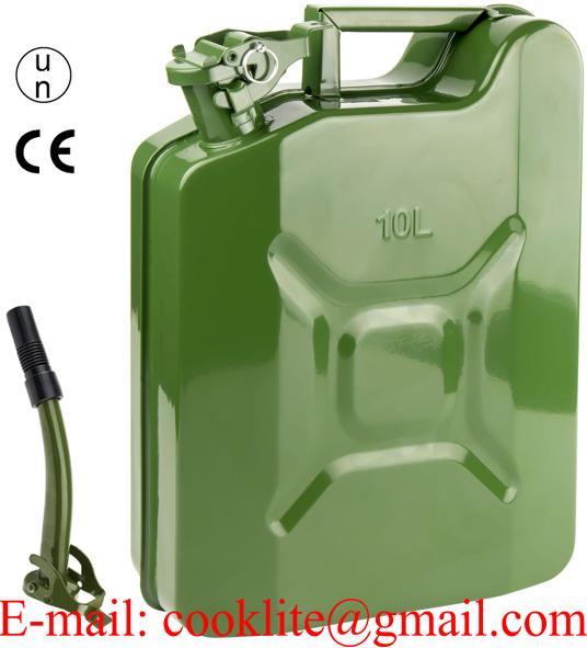 Plechový kanister na PHM s nalievacím hrdlom - 10L