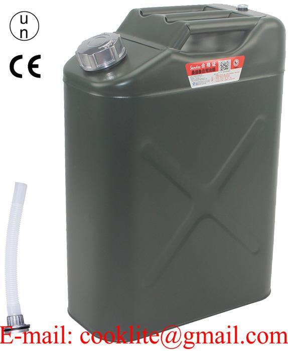 Kanister plechový 20l s hubicou a upouštěcím ventilom na vzduch
