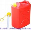 Canistra plastic 20L rosie pentru combustibil si benzina cu palnie flexibila