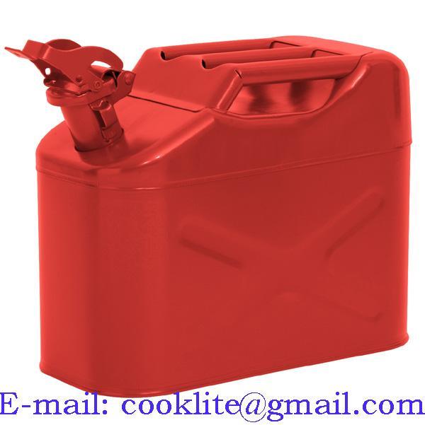 Jerrican métal pour carburant essence ou diesel 10 litres