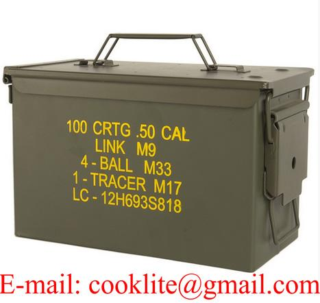 Boîte de munitions militaire / Caisse à munition métallique M2A1 Cal.50