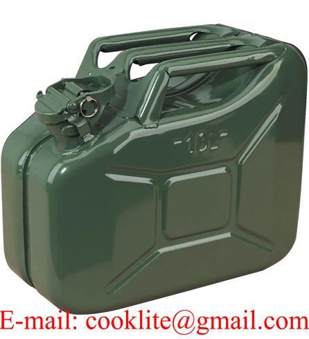 Galão de metal 10 litros para transporte de gasolina e combustível